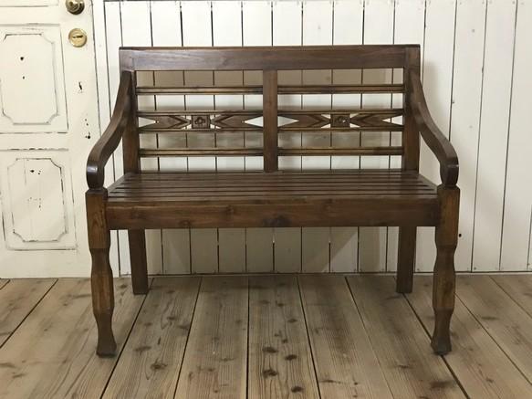 チーク無垢材 銘木 古木 長椅子 2人用 1M ベンチ