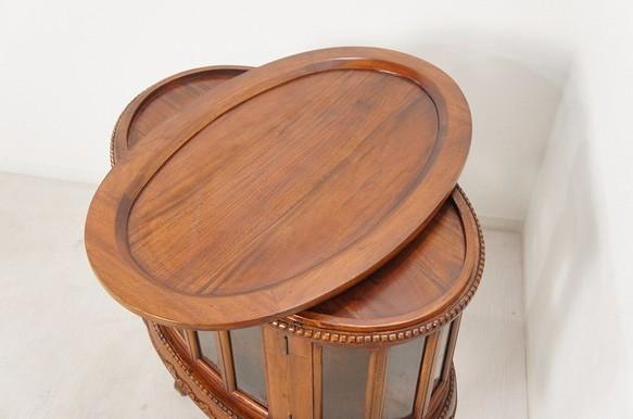 アンティーク調 オーバル ティーテーブル 猫脚