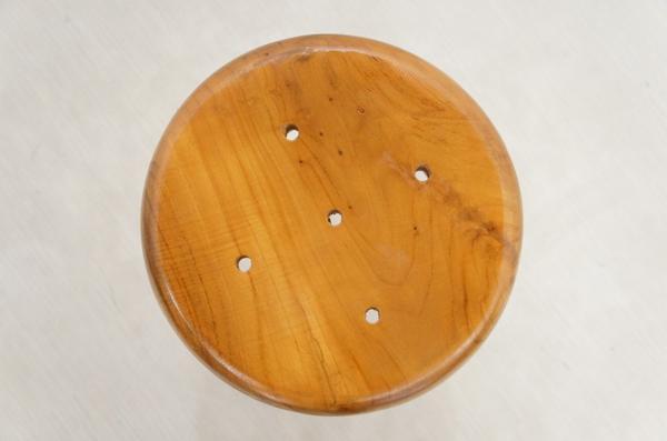 鉄脚スツール チーク無垢材 カウンター チェア ハイ スツール