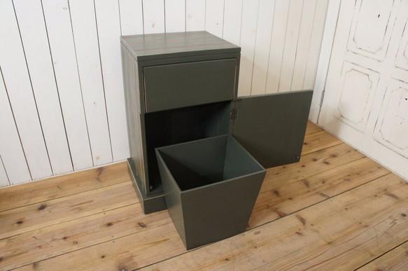 ハンドメイド ダストボックス 木製 ゴミ箱 リベット