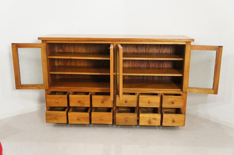アンティーク調 食器棚 3段棚 12杯 サイドボード