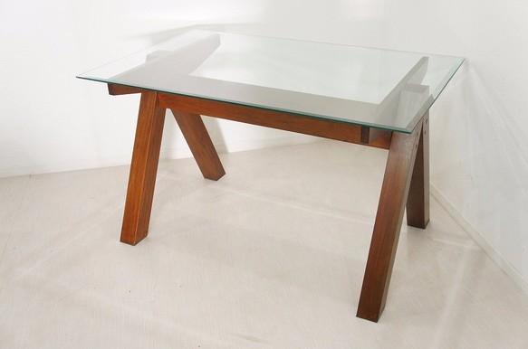 マホガニー無垢 ガラストップ ダイニングテーブル