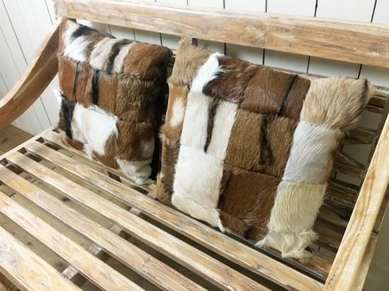 本毛皮 革 ハラコ パッチワーク レザークッション