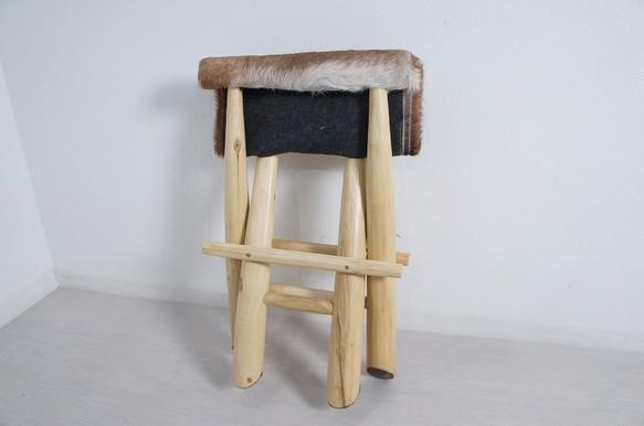 フォールディングチェア 毛皮 チーク無垢 折畳椅子