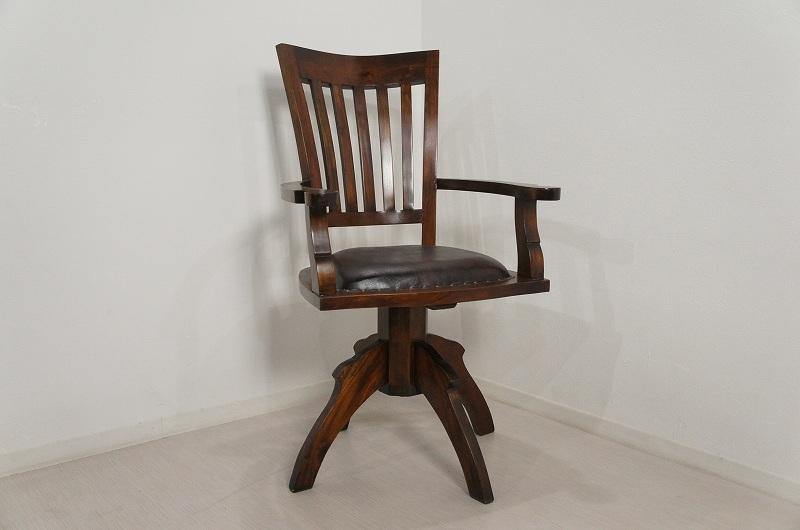 アンティーク調 回転アームチェア 書斎椅子 無垢材