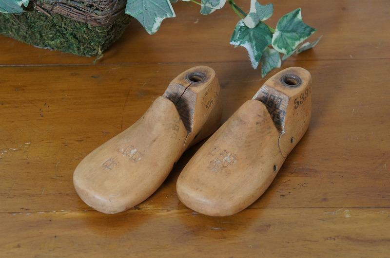 アンティーク シューモールド 木製靴型 51/2 14.5cm 2個
