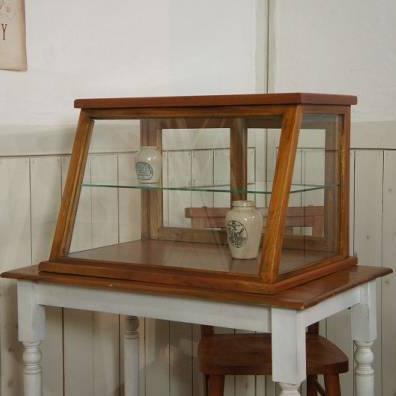 卓上 ガラスケース 古木 斜め2段 5面 収納棚 飾り棚 駄菓子 店舗什器