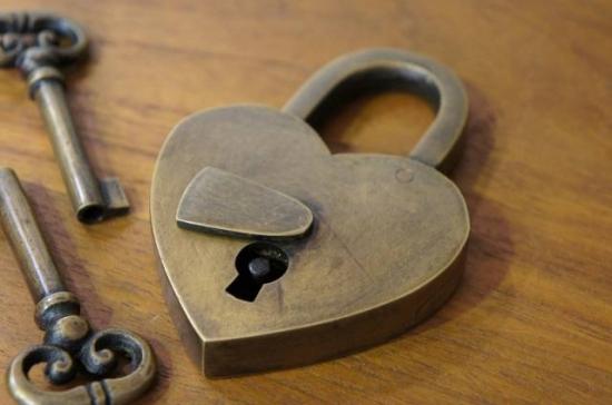 アンティーク調 ブラス 鍵 南京錠 パドロック ハート型 鍵2本付属
