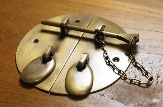 アンティーク調 デザイン ロック金具 丸 真鍮製 掛金 大