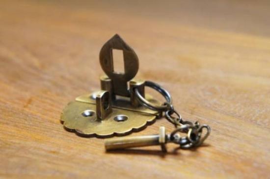 アンティーク調 デザイン ロック金具 花型 真鍮製 掛金