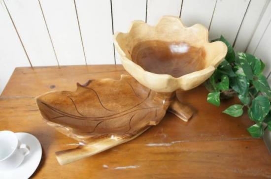 葉っぱ型 サラダボウル 木製トレイ モンキーポッド