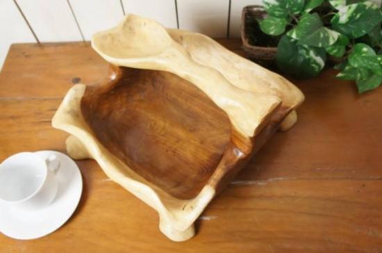 持ち手付き サラダボウル 木製トレイ モンキーポッド