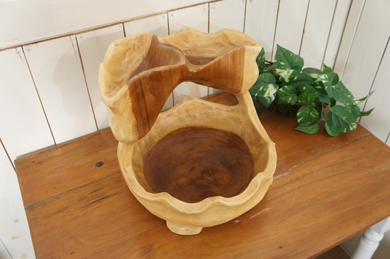 2段 サラダボウル 木製トレイ モンキーポッド