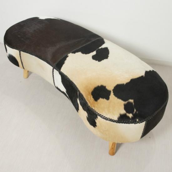無垢材チーク ハラコ毛皮張り ピーナッツ型 クッションベンチ