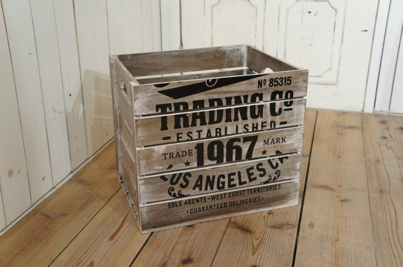 ビンテージ調 ウッドボックス 木箱 収納箱 ダメージ仕上 L