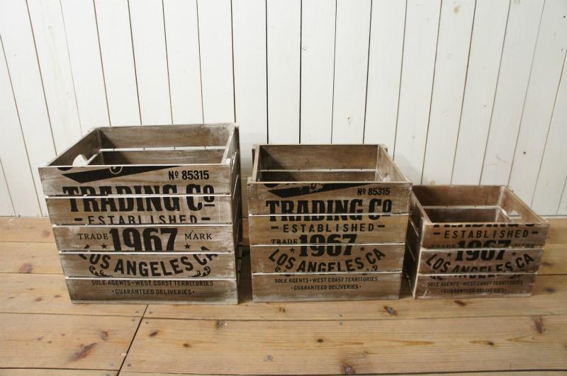 ビンテージ調 ウッドボックス 木箱 収納箱 ダメージ仕上 S