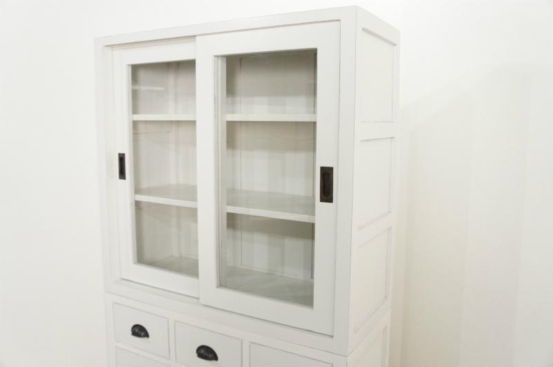 アンティーク調 スリムタイプ 食器棚 ガラス引き戸 抽斗15杯