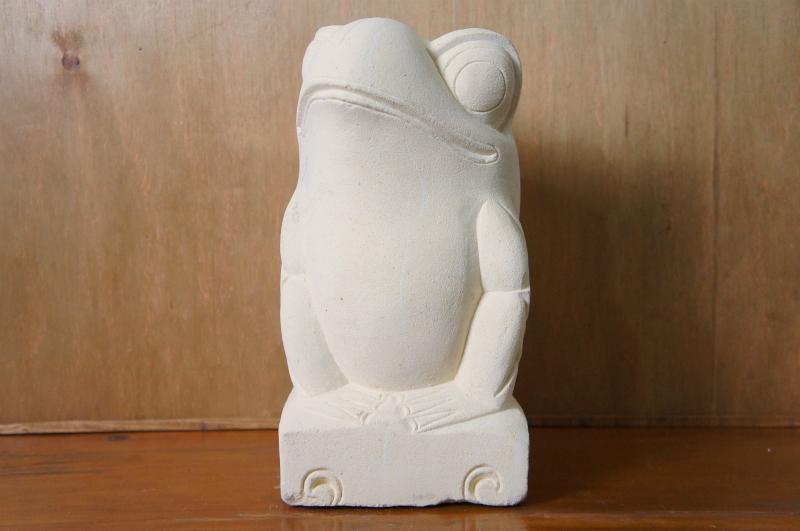 パラス石 石彫り カエル L
