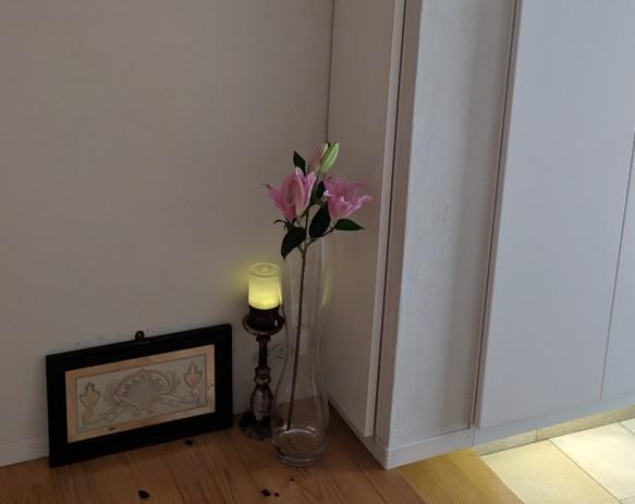 アンティーク調 木製 キャンドルスタンド 蝋燭立 燭台 L
