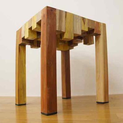 寄木ブロック スツー 椅子 銘木チーク 天然木 無垢