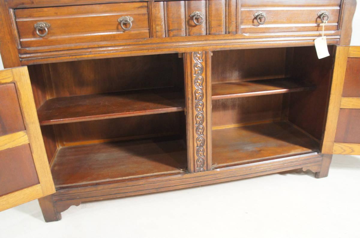 英国アンティーク 木製 ビンテージ サイドボード キャビネット W140 オーク材 鍵付き