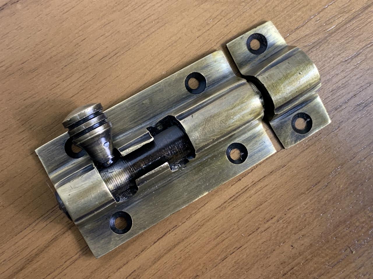 アンティーク調 デザイン ロック金具 真鍮製 掛金 スライドW024
