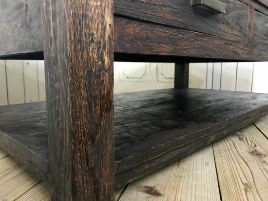 アンティーク調 オールドチーク 無垢 リビングテーブル 銘木 天然木 センターテーブル