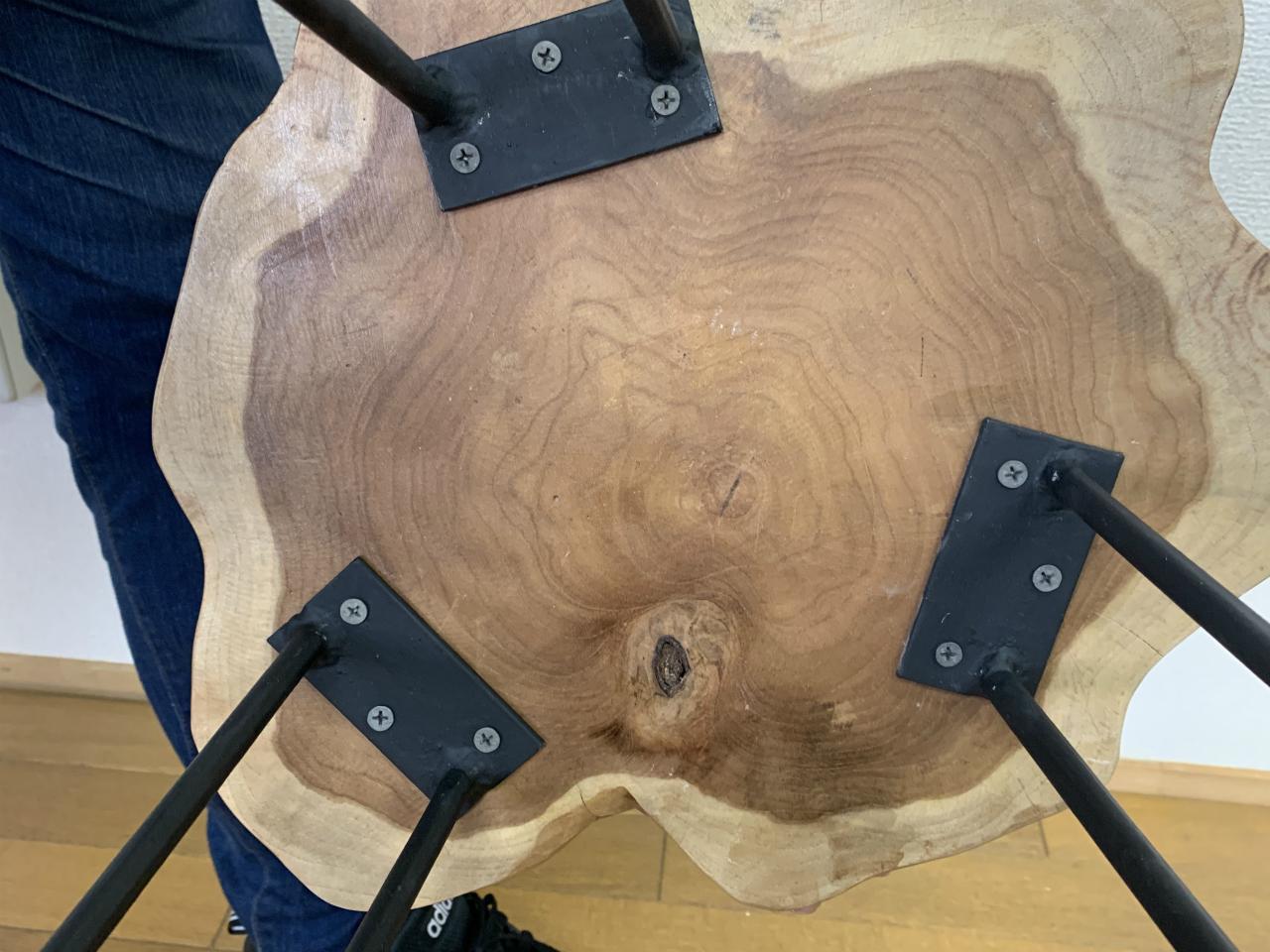 チーク 切り株 木目天板 鉄脚テーブル サイドテーブル スツール 花台 飾り台