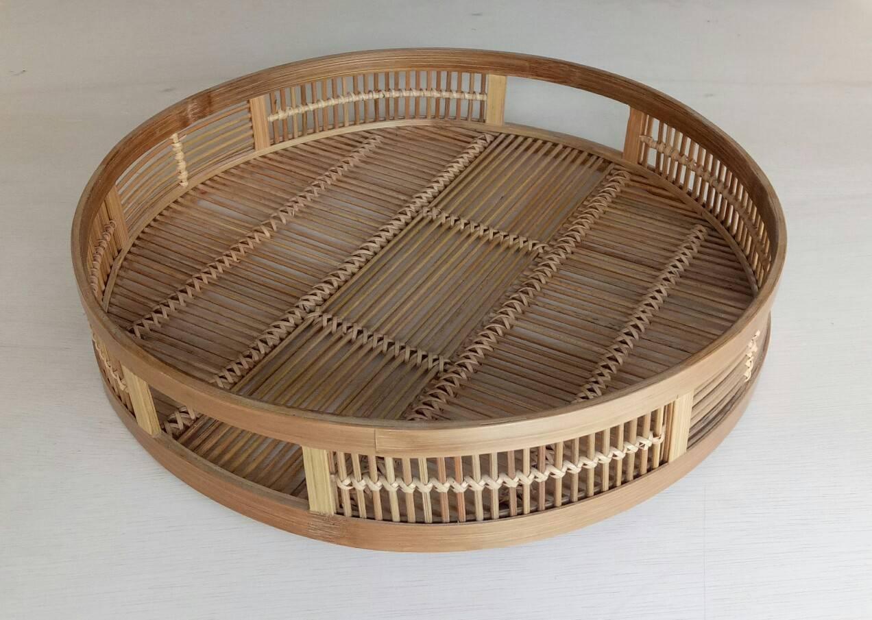 バンブートレイ 丸型トレイ 編み込み 手編み 竹製 竹細工 お盆